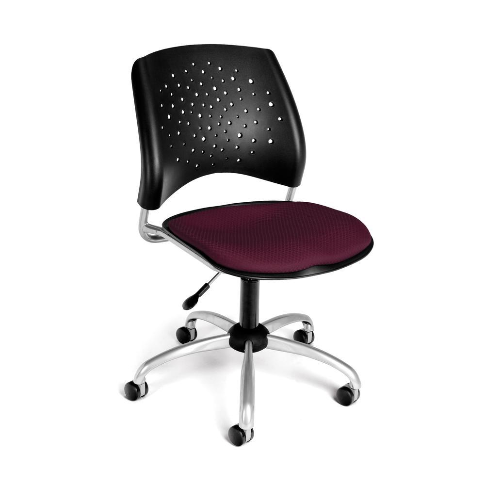 OFM Stars Series Model 326 Armless Fabric Swivel Task Chair, Burgundy