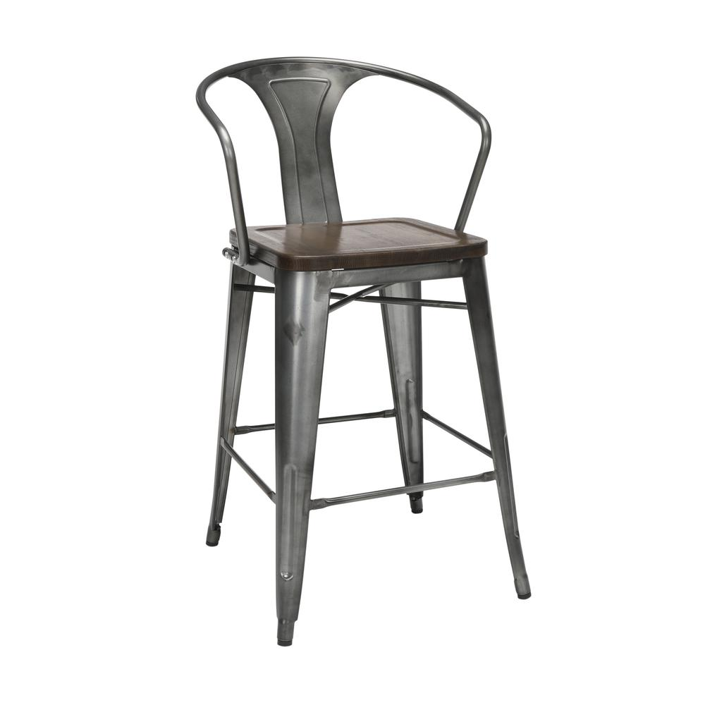 "The OFM 161 Collection Industrial Modern 26"" Mid Back Metal Stools with Arms and Solid Ash Wood Seats, 4 Pack, bring the industrial vibe of a galvanized steel frame with the cozy comfort of arms and c. Picture 1"