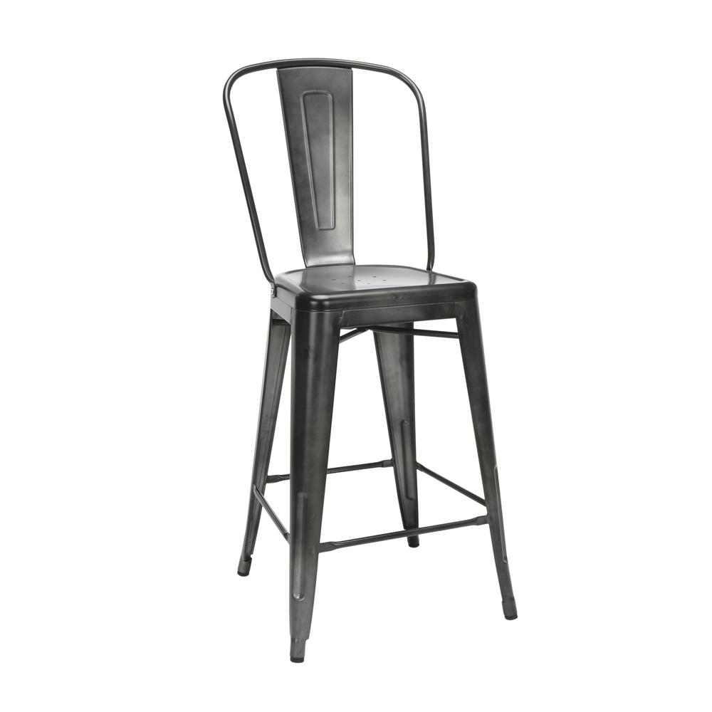 "The OFM 161 Collection Industrial Modern 26"" High Back Metal Bar Stools, 4 Pack, provide a sophisticated counter height seating solution for cafe tables and bars, suitable for indoor/outdoor settings.. Picture 1"