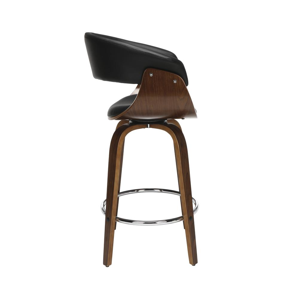 "The OFM 161 Collection Mid Century Modern 26"" Low Back Bentwood Frame Swivel Seat Stool, Vinyl Upholstery, in Black, is a statement piece that solves your elevated seating needs with the added functio. Picture 4"