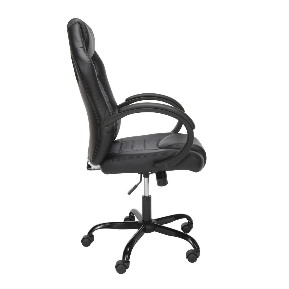 Essentials Collection High-Back Gaming Chair, Padded Loop Arms, in Gray (ESS-3083HB-GRY). Picture 4