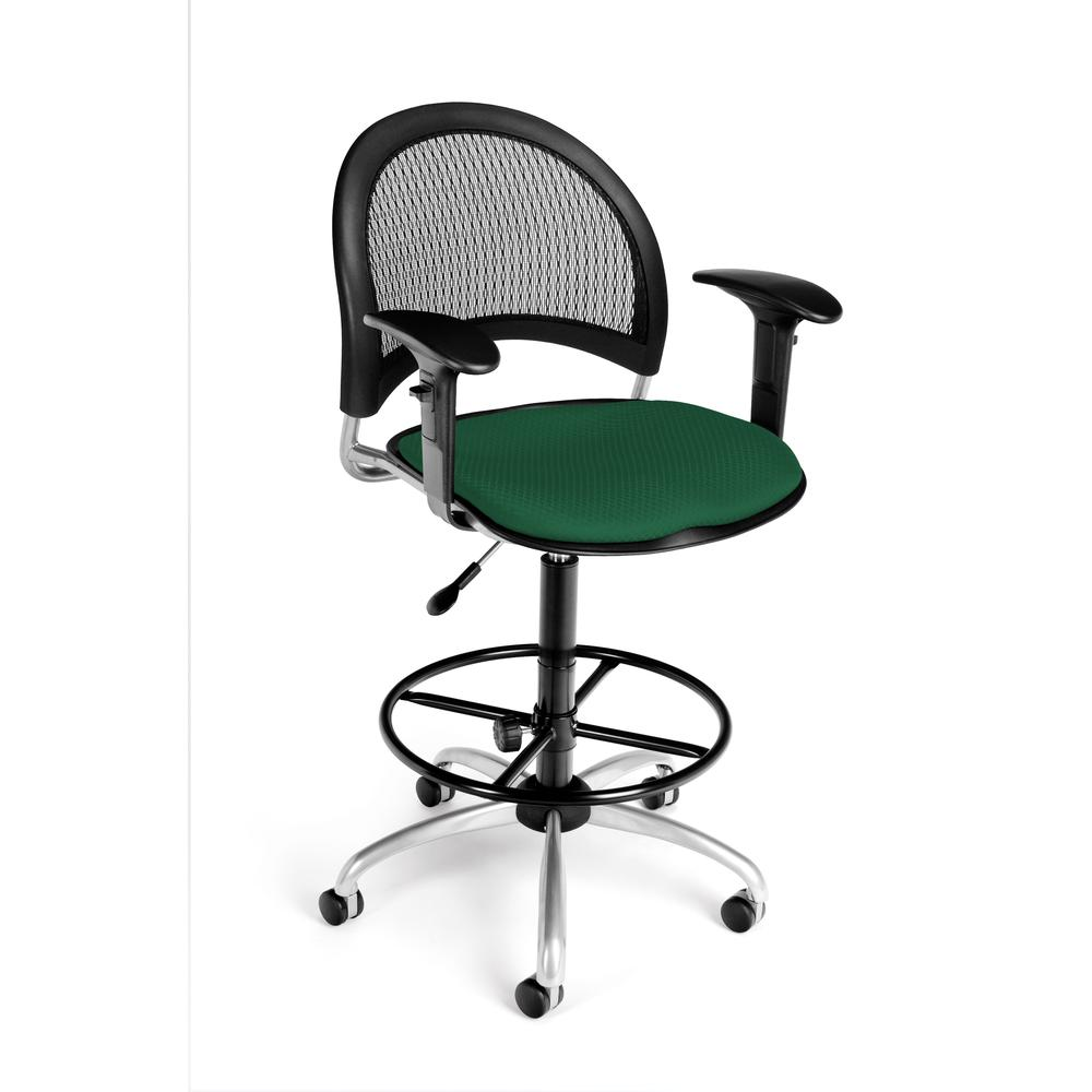 OFM Model 336-AA3-DK Fabric Swivel Task Chair with Arms , Kit, Green. Picture 1