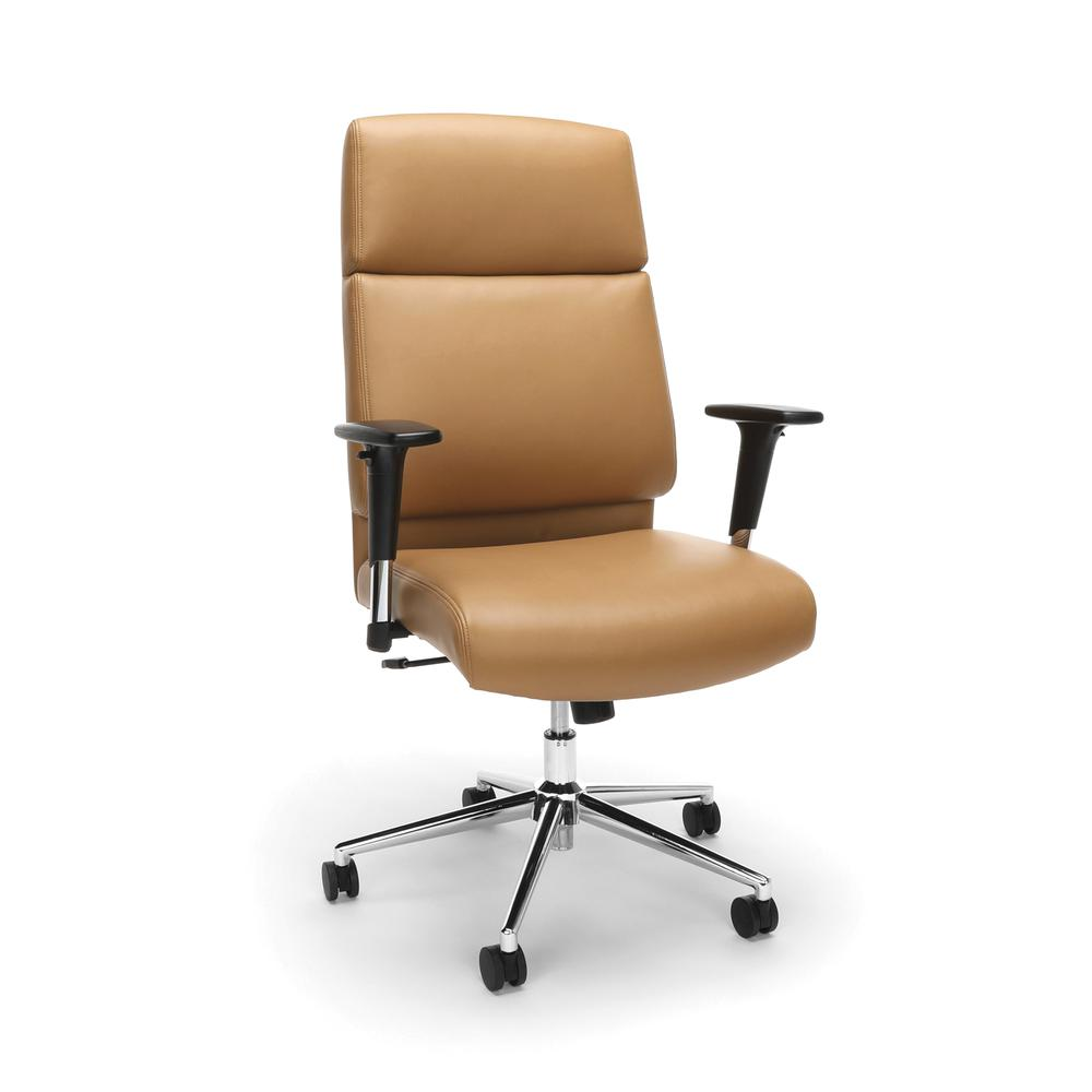 OFM Model 568 High-Back Bonded Leather Manager's Chair, Camel with Chrome Base. Picture 1
