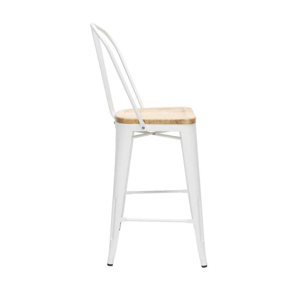 "The OFM 161 Collection Industrial Modern 26"" High Back Metal Stools with Solid Ash Wood Seats, 4 Pack, bring the industrial vibe of a galvanized steel frame and couple it with the inviting warmth of s. Picture 4"