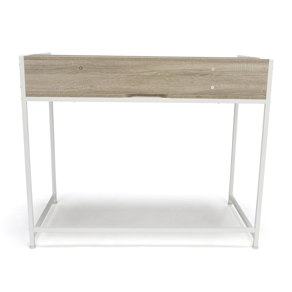 Essentials by OFM ESS-1003 Computer Desk with Shelf, White with Natural. Picture 3