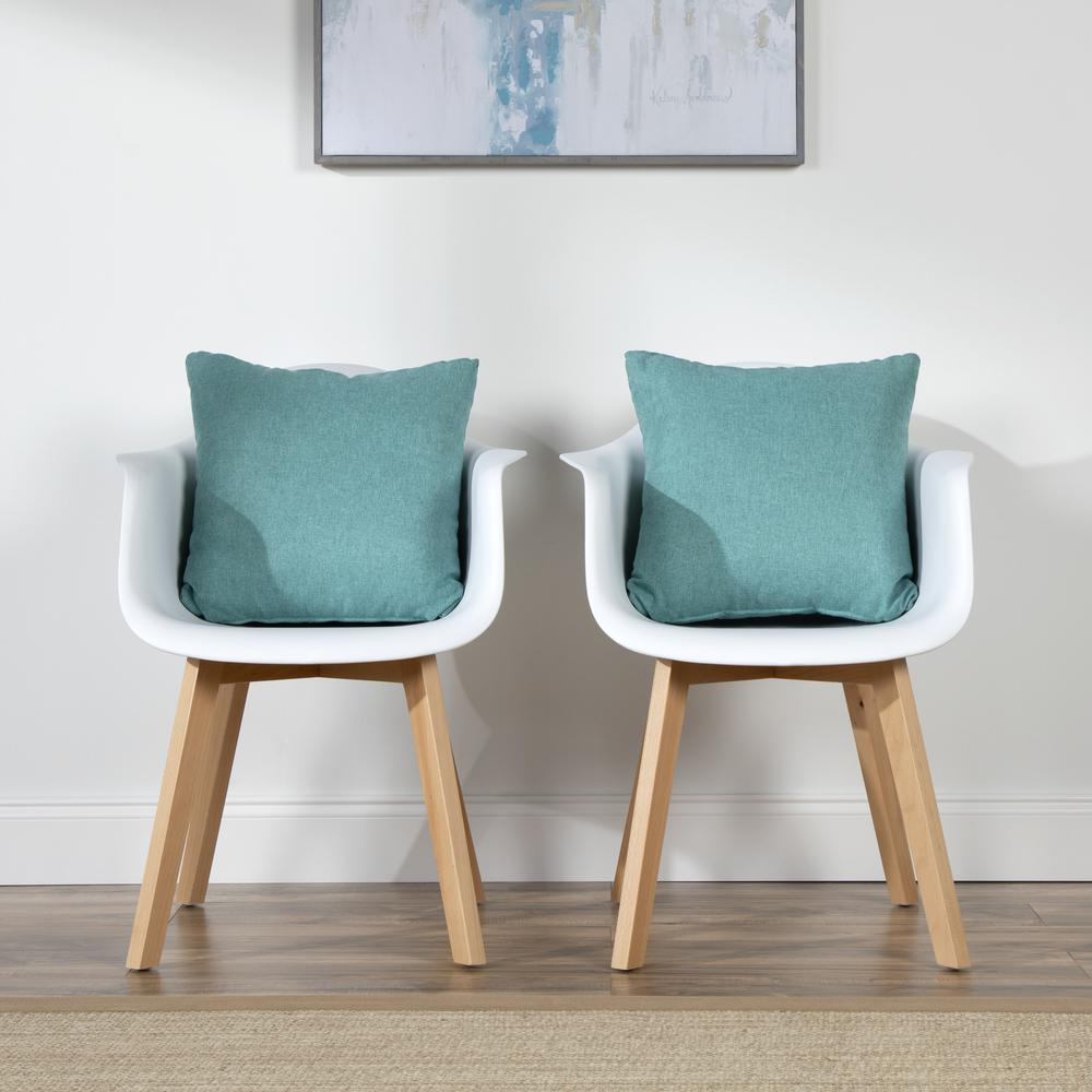 161 Collection Mid Century Modern 2-Pack 18 x 18 Accent Pillows, Teal. Picture 12