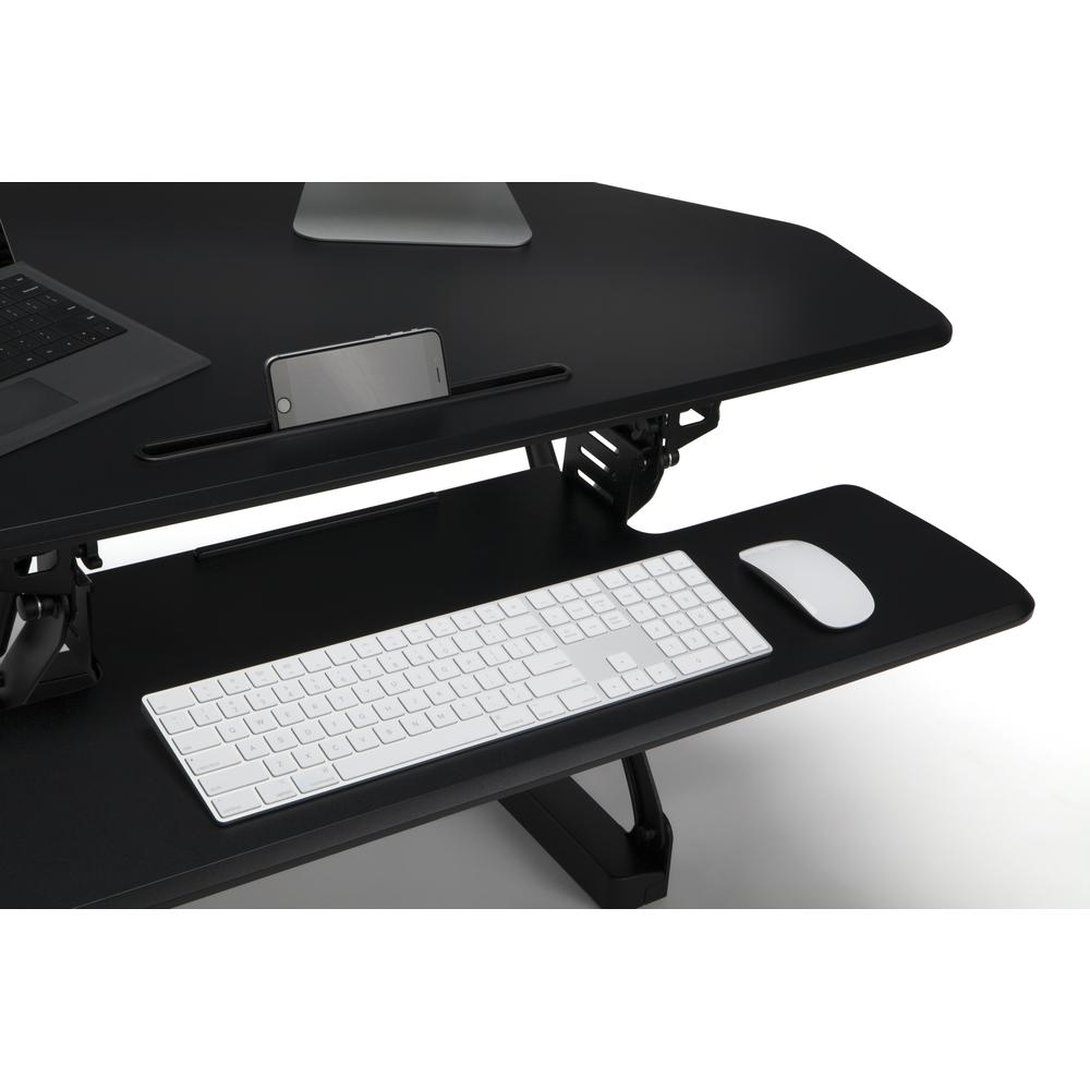 OFM Core Collection Adjustable Desktop Riser, Corner Standing L-Shaped Desk Converter, in Black (5100C-BLK). Picture 6