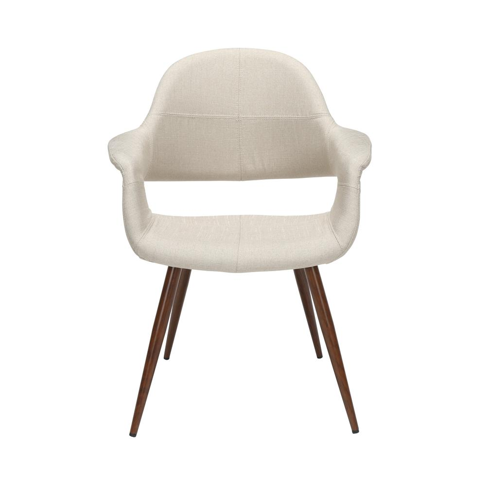 The OFM 161 Collection Mid Century Modern Fabric Accent Chair with Arms, 2 Pack, in Beige, is reminiscent of the original MCM chair. This quintessential mid century modern accent dining chair is sold. Picture 2