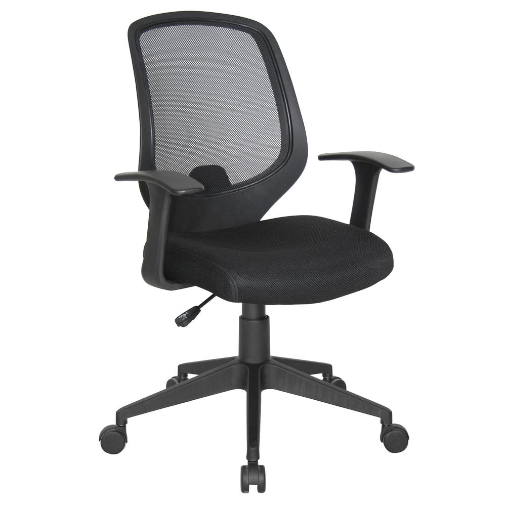 Essentials by OFM E1000 Mesh Swivel Task Chair with Arms, Black. Picture 1