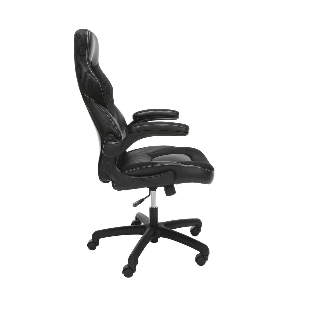 Racing Style Bonded Leather Gaming Chair, in Black. Picture 4
