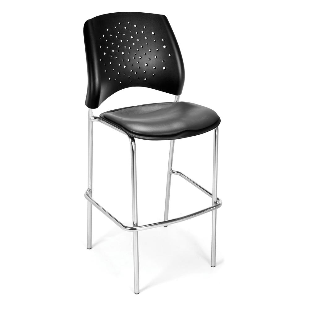 OFM Model 328C-VAM Vinyl Cafe Height Chair, Charcoal with Chrome Finish Base. Picture 1