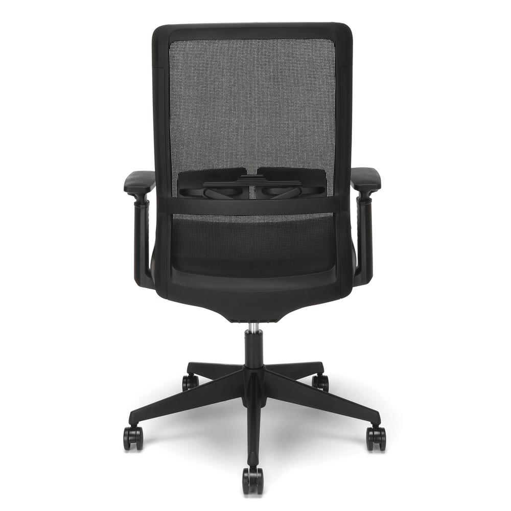HON Basyx Biometryx Commercial-Grade Mesh Back with Bonded Leather Seat Task Chair, Office Chair, in Black (BSX155SB11T). Picture 3