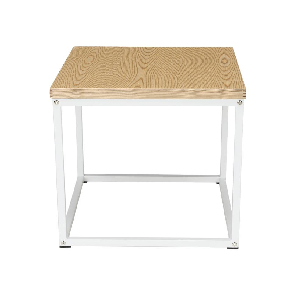 The OFM 161 Collection Industrial Modern Wood Top/Metal Frame Side Table is classically industrial but can tie together pieces from any decor style because of its understated simplicity.. Picture 4