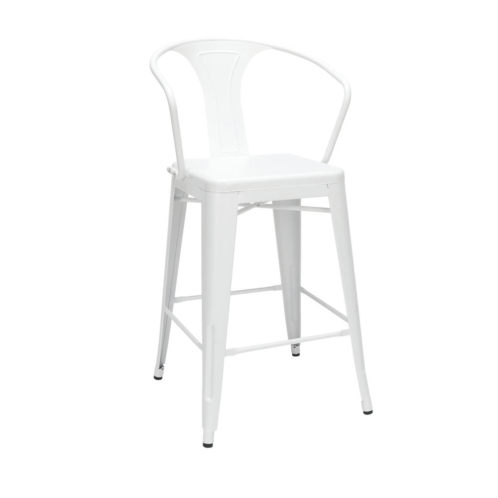"""The OFM 161 Collection Industrial Modern 26"""" Mid Back Metal Arm Chair Stools, 4 Pack, provide a comfortable, yet sophisticated, counter height seating solution for cafe tables and bars, suitable for i. Picture 1"""