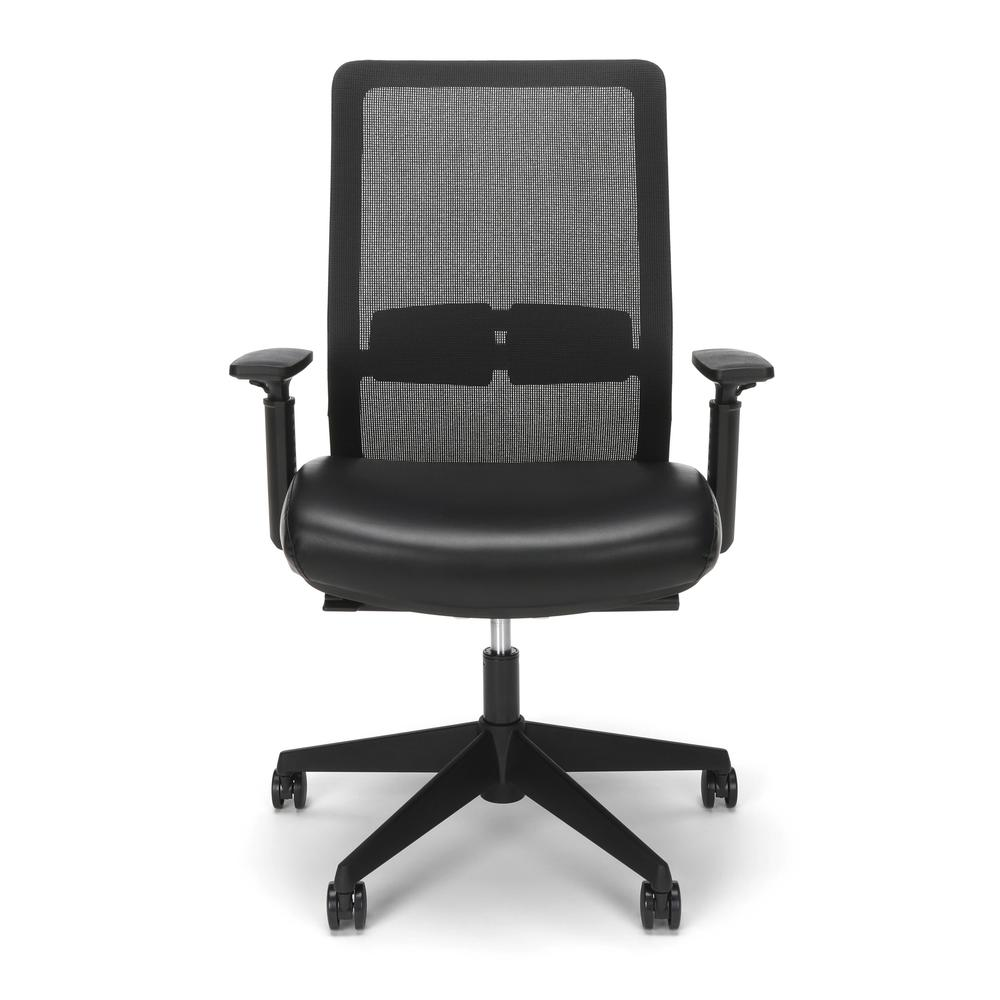 HON Basyx Biometryx Commercial-Grade Mesh Back with Bonded Leather Seat Task Chair, Office Chair, in Black (BSX155SB11T). Picture 2