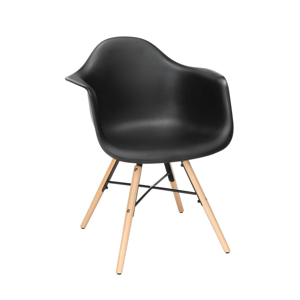Collection 4 Pack Mid Century Modern Plastic Molded Accent Chairs with Arms, Dining Chairs, Beechwood Legs with Wire Accent, in Black. Picture 1
