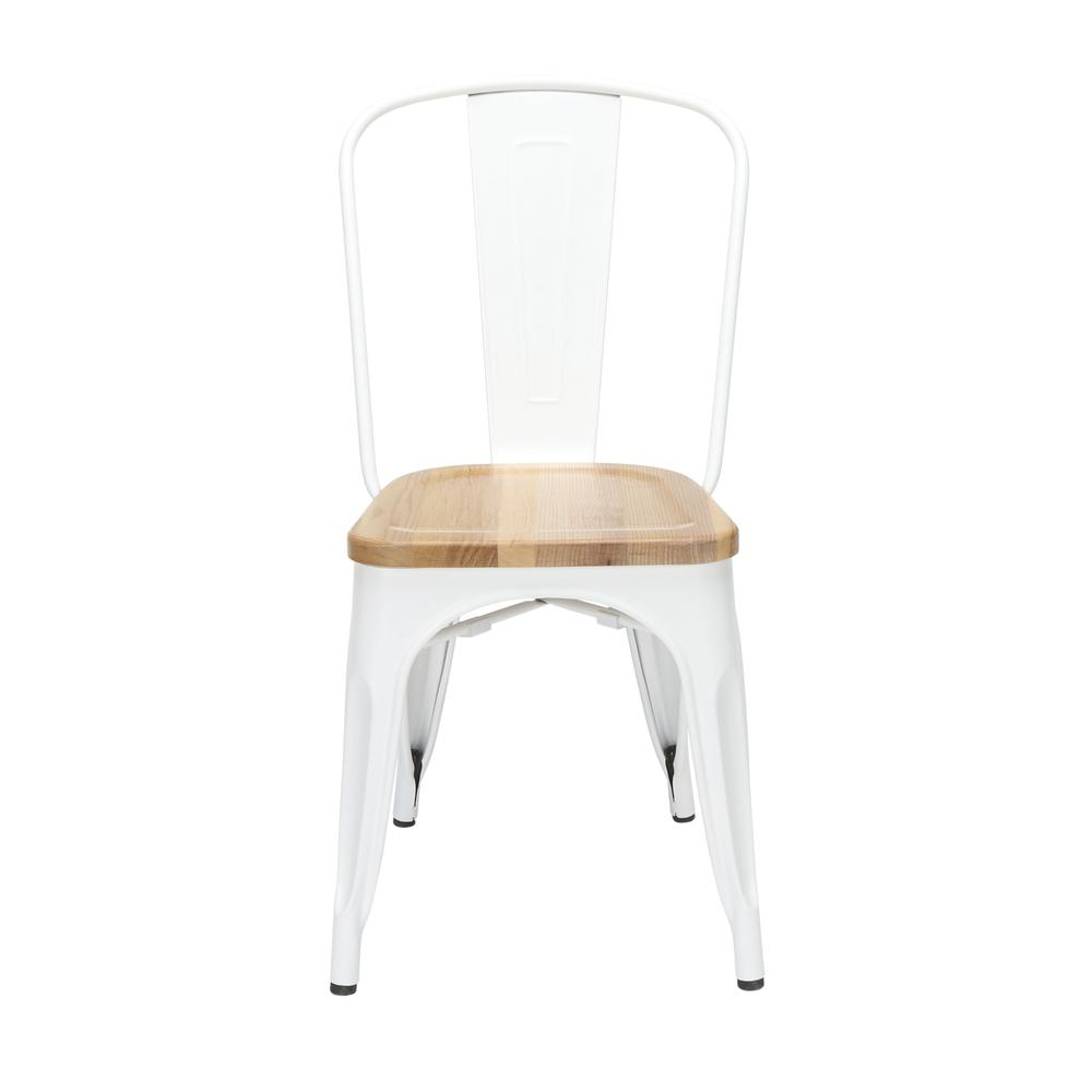 """The OFM 161 Collection Industrial Modern 18"""" High Back Metal Dining Chairs with Solid Ash Wood Seats, 4 Pack, feature galvanized steel chair frames with solid ash wood seats, marrying the industrial w. Picture 2"""