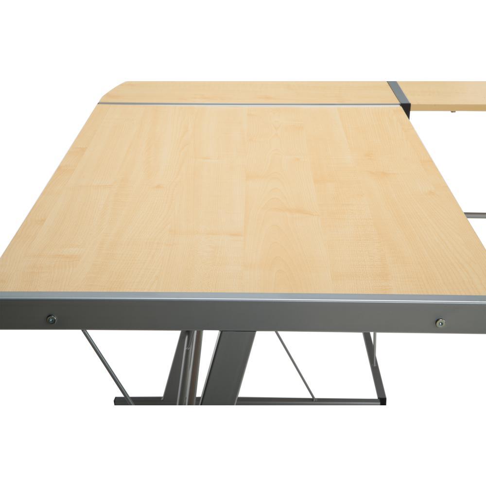 """60"""" Metal Frame L-Shaped Desk, Corner Computer Desk, in Maple. Picture 8"""
