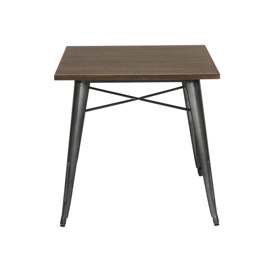 "The OFM 161 Collection Industrial Modern 30"" Square Dining Table features a galvanized steel body with a wooden tabletop that is ideal for covered outdoor spaces or any indoor space like kitchens, caf"