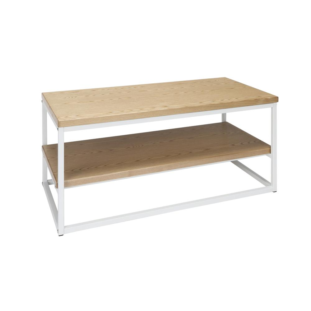 The OFM 161 Collection Industrial Modern Wood Top/Metal Frame Coffee Table with Wood Shelf is the perfect accent piece for any space as it blends easily in living rooms, recreational spaces, lobbies,. Picture 1