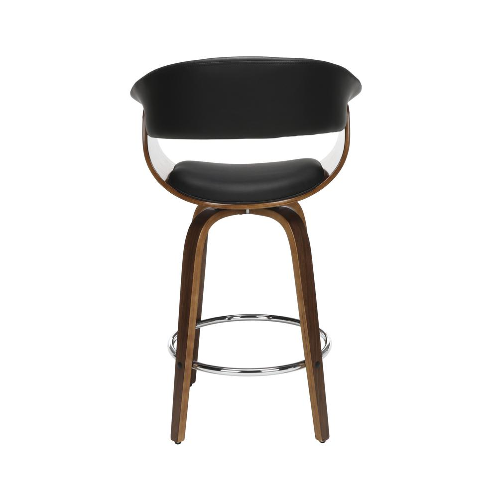 "The OFM 161 Collection Mid Century Modern 26"" Low Back Bentwood Frame Swivel Seat Stool, Vinyl Upholstery, in Black, is a statement piece that solves your elevated seating needs with the added functio. Picture 3"