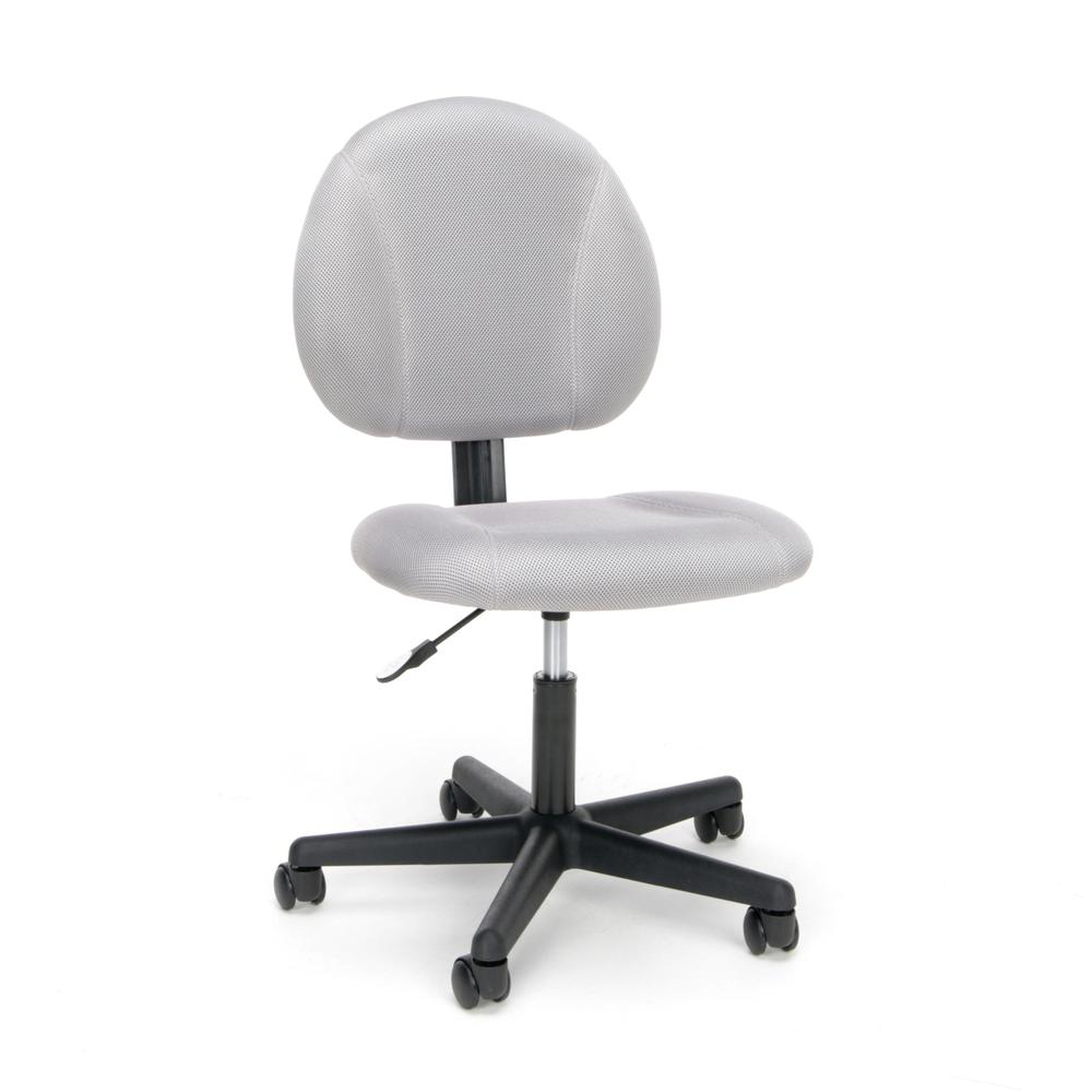 Essentials by OFM ESS-3060 Upholstered Armless Swivel Task Chair, Gray. Picture 1