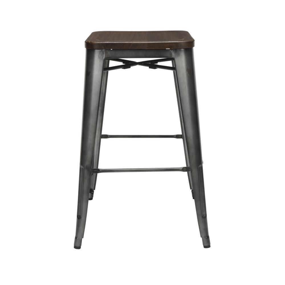 "The OFM 161 Collection Industrial Modern 30"" Backless Metal Bar Stools with Solid Ash Wood Seats, 4 Pack, require no assembly, are stackable, and provide a roomy 15 square inches of seating surface. P. Picture 3"