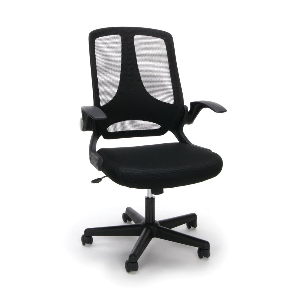 Essentials by OFM ESS-3045 Mesh Upholstered Flip-Arm Task Chair, Black. Picture 1