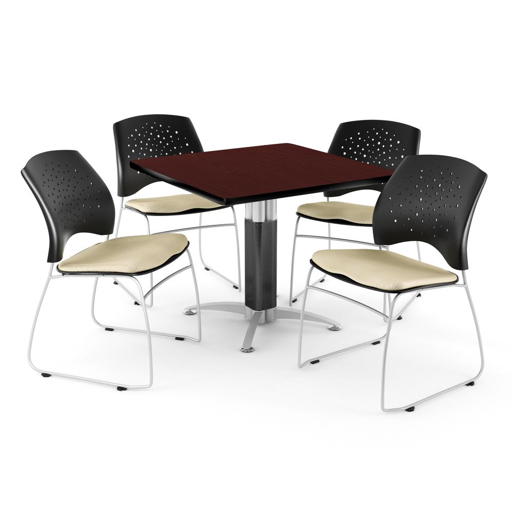 Square Metal Mesh Base Table in Mahogany, 4 Stars Stacking Chairs in Khaki. Picture 1