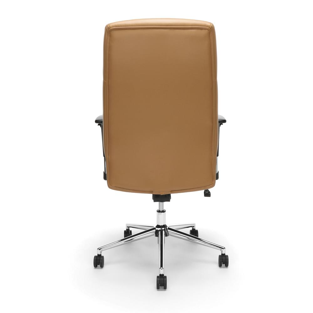 OFM Model 568 High-Back Bonded Leather Manager's Chair, Camel with Chrome Base. Picture 3