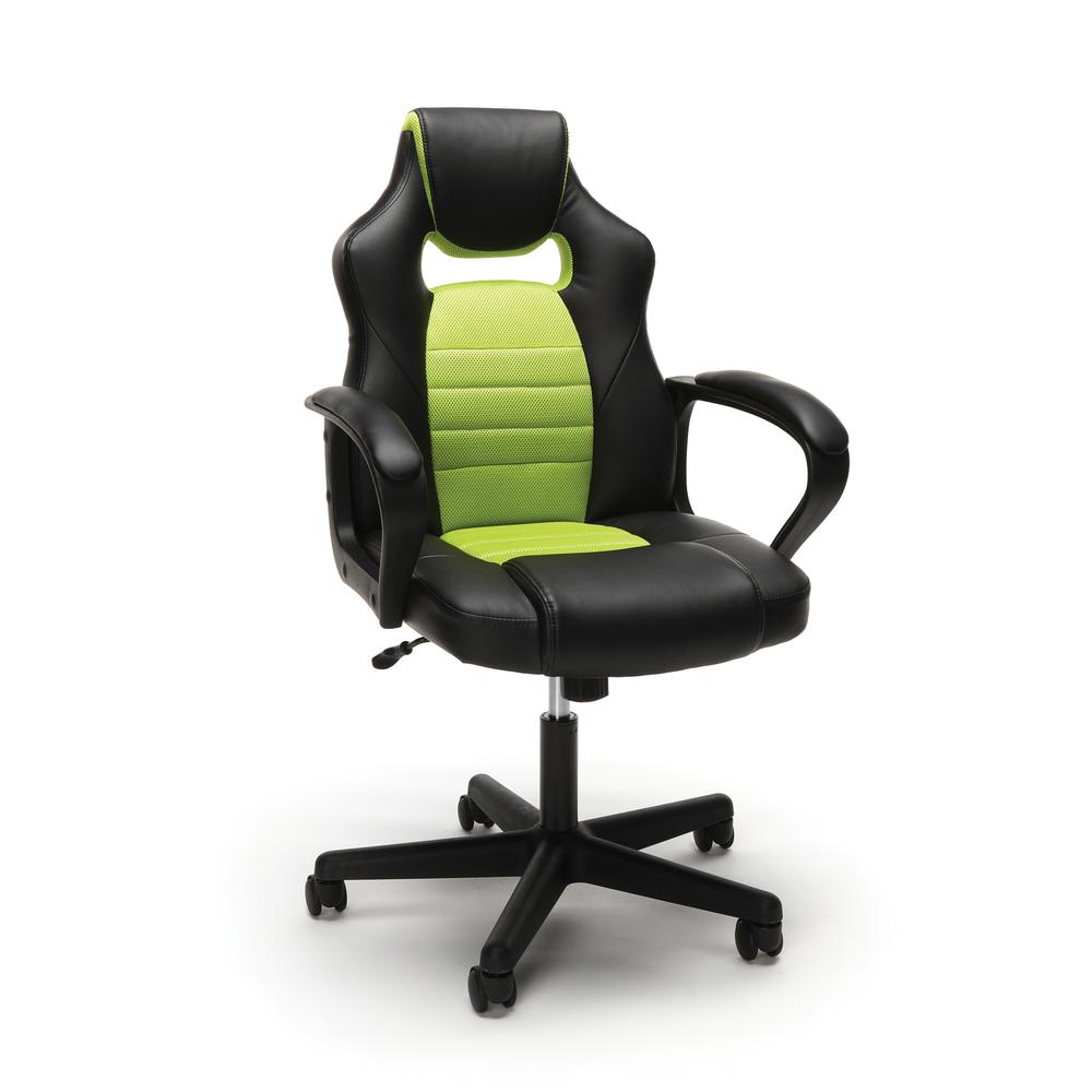 Essentials by OFM ESS-3083 Racing Style Gaming Chair, Green. Picture 1
