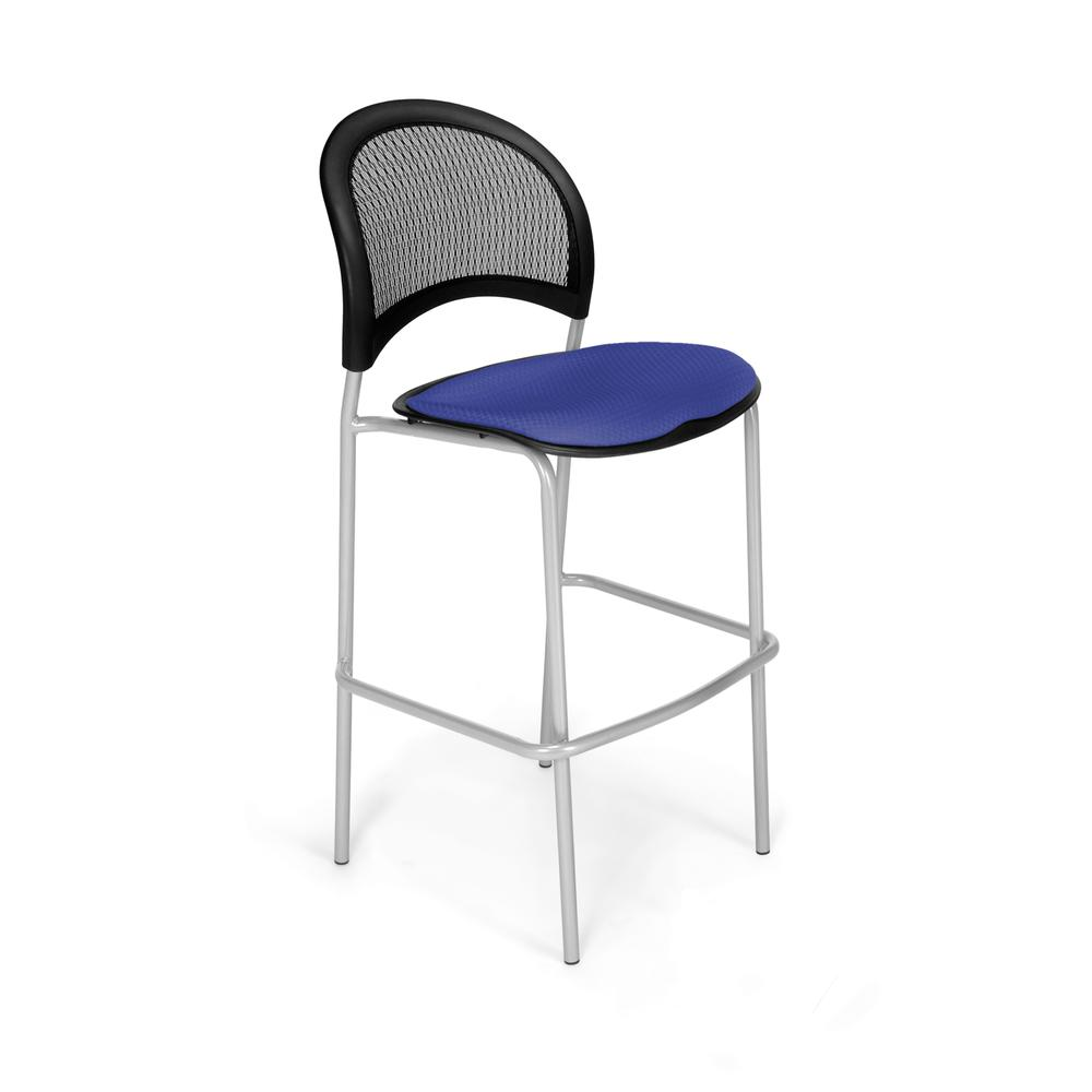 OFM Model 338S Fabric Cafe Height Chair, Royal Blue with Silver Base. Picture 1