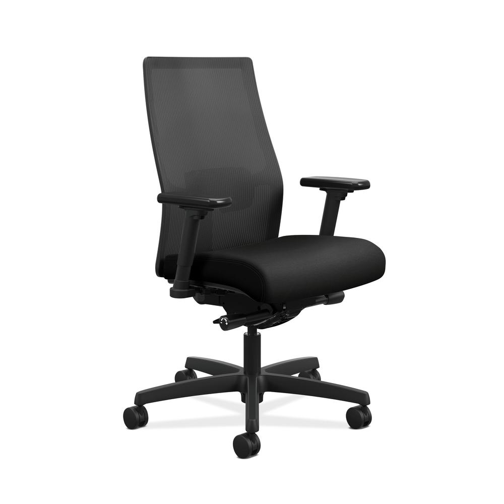 HON Ignition 2.0 Mid-Back Adjustable Lumbar Work Chair - Black Mesh Computer Chair for Office Desk, Black Fabric (HONI2M2AMLC10TK). Picture 1