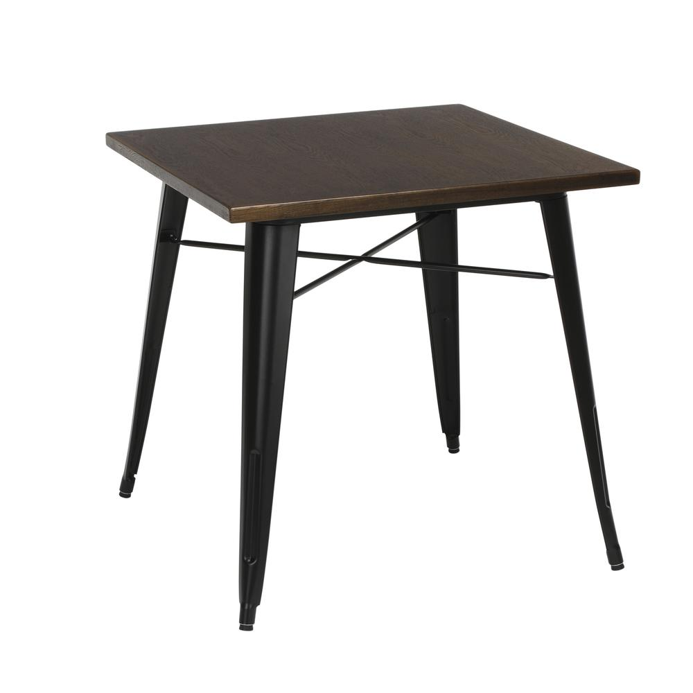 "The OFM 161 Collection Industrial Modern 30"" Square Dining Table features a galvanized steel body with a wooden tabletop that is ideal for covered outdoor spaces or any indoor space like kitchens, caf. Picture 1"