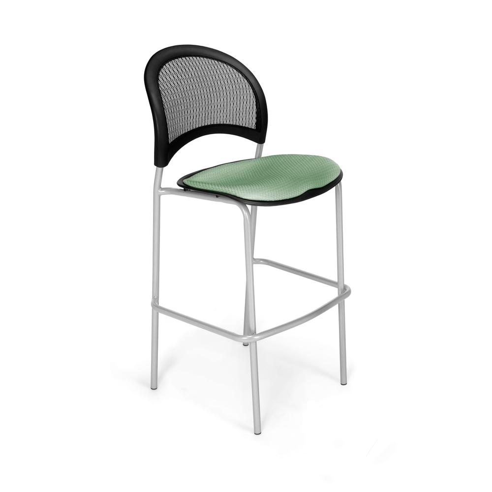 OFM Model 338S Fabric Cafe Height Chair, Sage Green with Silver Base. Picture 1