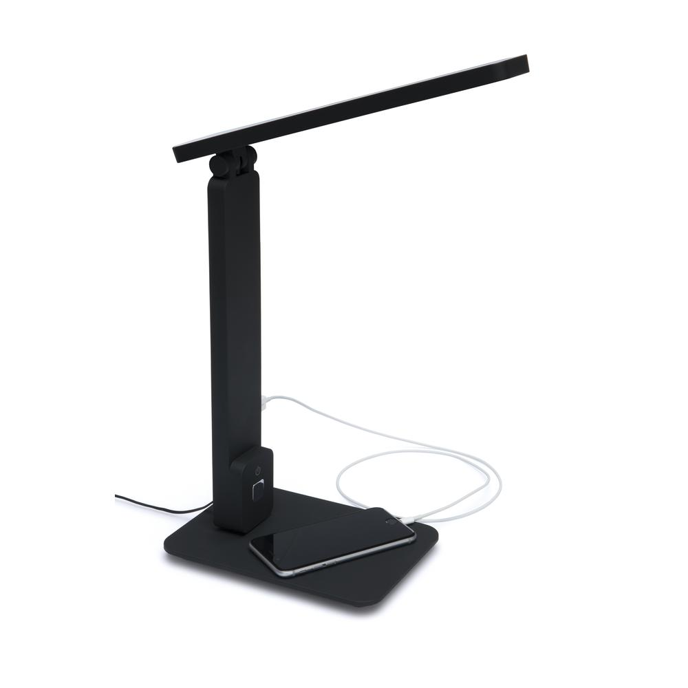 OFM 4025-BLK Industrial LED Desk Lamp with Touch Activated Switch and USB Charging Port, Black. Picture 6