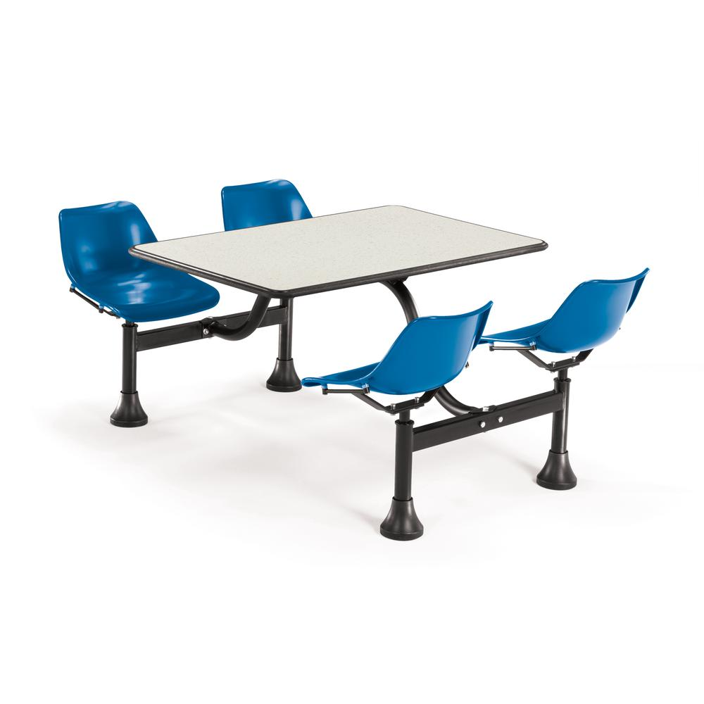 """Cluster Seating Table with 24"""" Top and 4 Seats, Beige Nebula with Blue. Picture 1"""