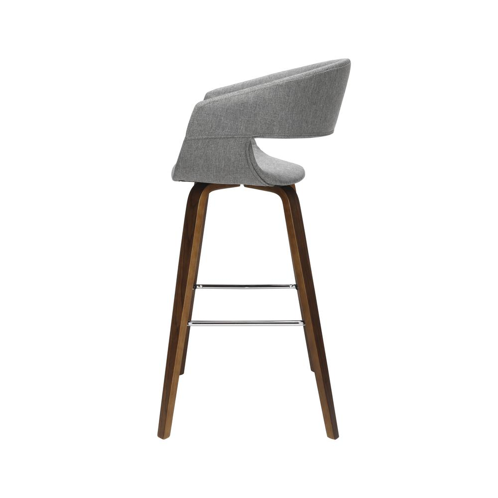 "The OFM 161 Collection Mid Century Modern 26"" Low Back Bentwood Frame Stool, Fabric Upholstery, 2 Pack, in Light Gray, is a graceful stool that provides a retro look for your elevated seating needs.. Picture 5"