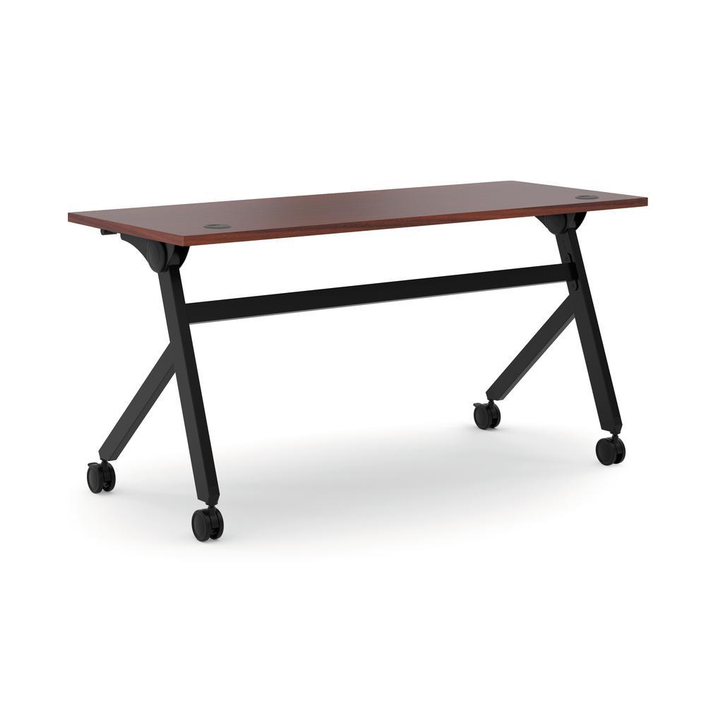 HON Assemble Flip Base Multi-Purpose Table, 60-Inch, Chestnut/Black (HBMPT6024P)