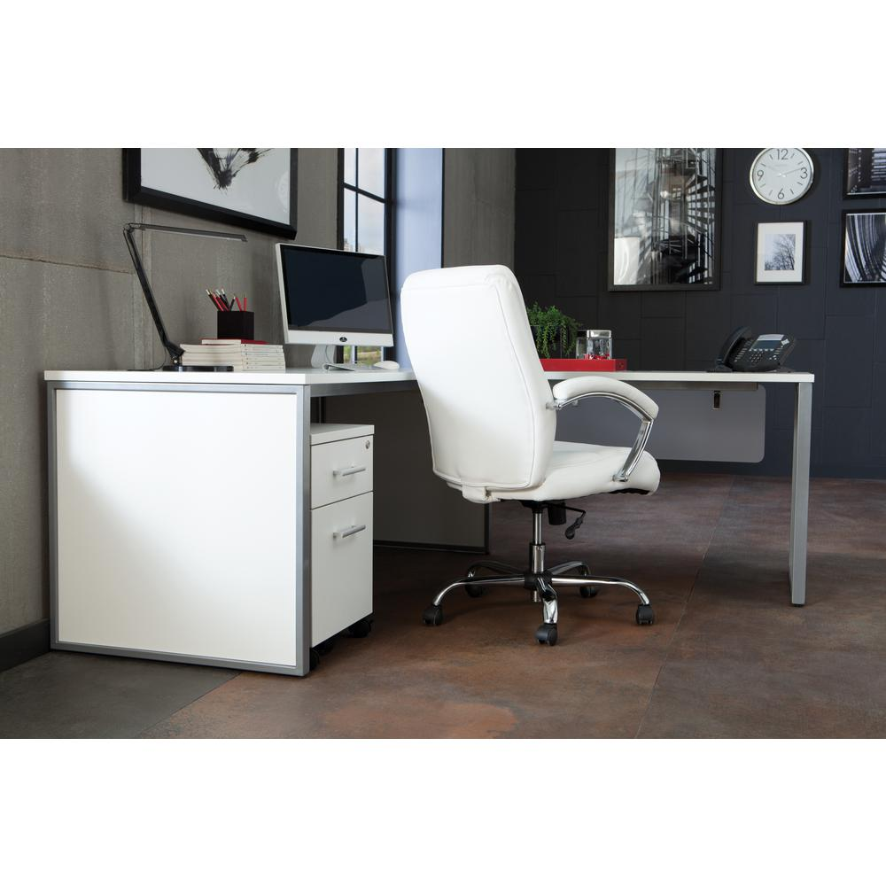 OFM Fulcrum Series Locking Pedestal, Mobile 2-Drawer Filing Cabinet, White (CL-MBF-WHT). Picture 7