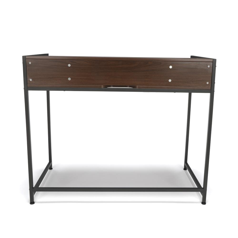 Essentials by OFM ESS-1003 Computer Desk with Shelf, Gray with Walnut. Picture 3