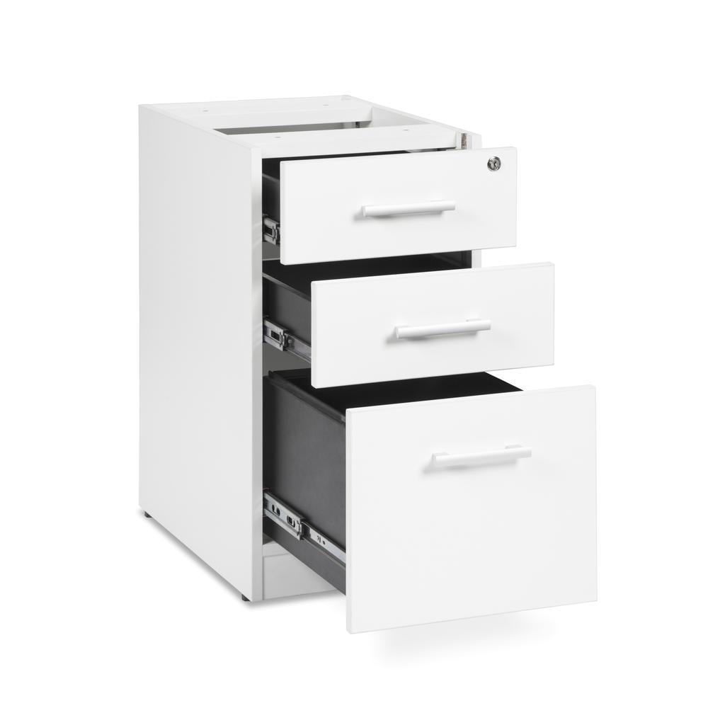 OFM Fulcrum Series Locking Pedestal, 3-Drawer Filing Cabinet, White (CL-BBF-WHT). Picture 6
