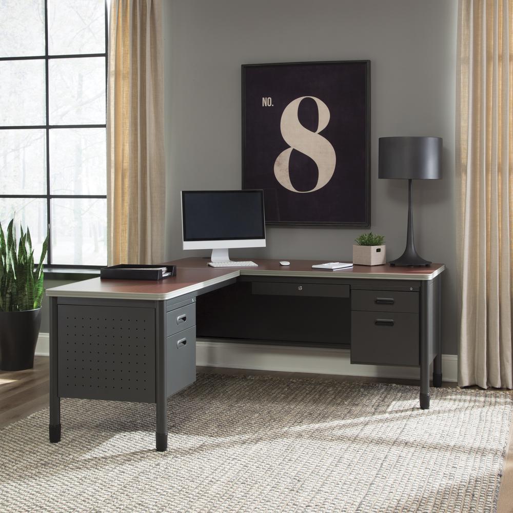 OFM Single Pedestal L-Shaped Desk with Left Pedestal Return with Laminate Top