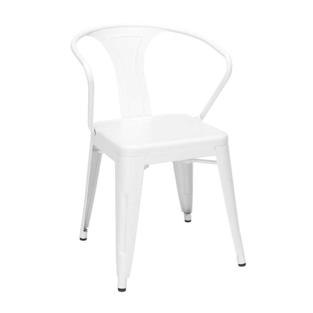 "OFM 161 Collection Industrial Modern 18"" Mid Back Metal Dining Chairs with Arms, 4 Pack, are manufactured with galvanized steel for indoor and outdoor use. These stacking metal chairs come fully assem. Picture 1"