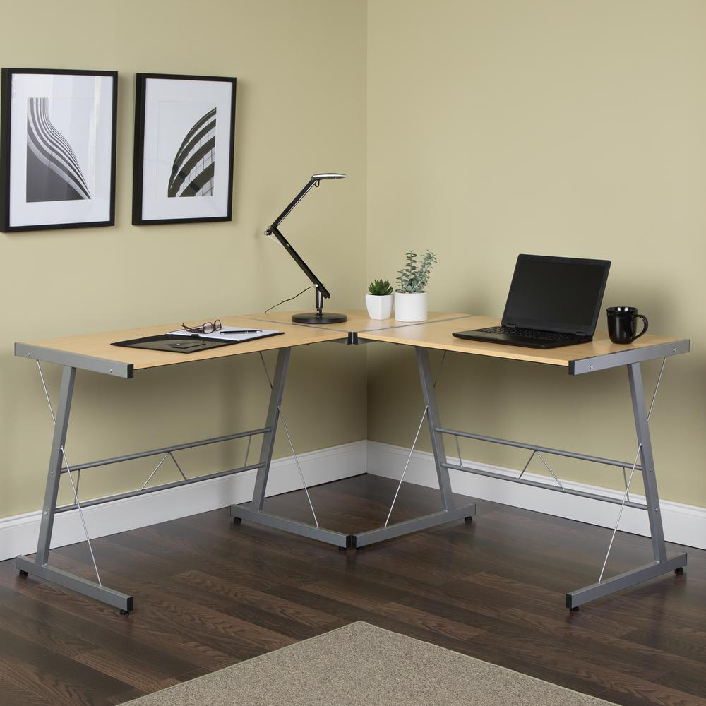 """60"""" Metal Frame L-Shaped Desk, Corner Computer Desk, in Maple. Picture 12"""
