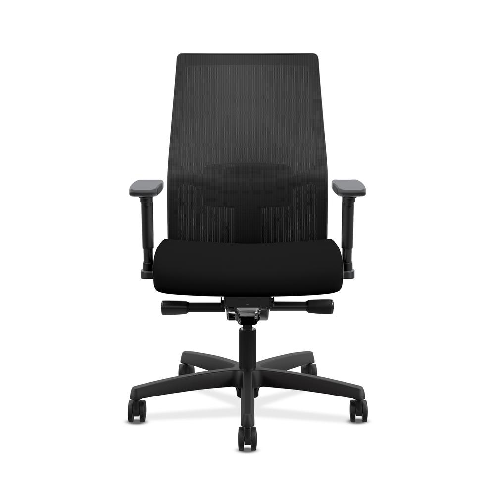 HON Ignition 2.0 Mid-Back Adjustable Lumbar Work Chair - Black Mesh Computer Chair for Office Desk, Black Fabric (HONI2M2AMLC10TK). Picture 2