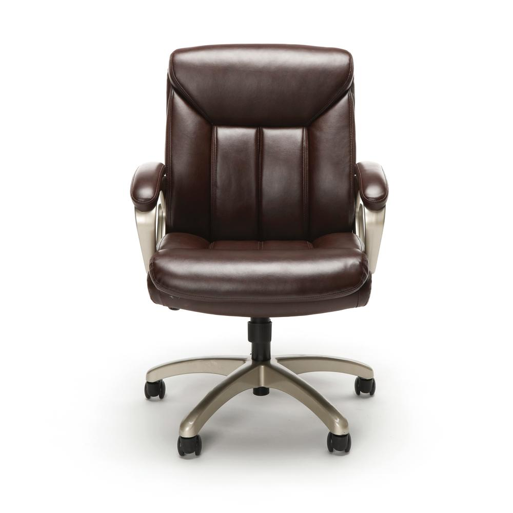 Essentials by OFM ESS-6020 Executive Office Chair, Brown with Champagne Frame. Picture 2