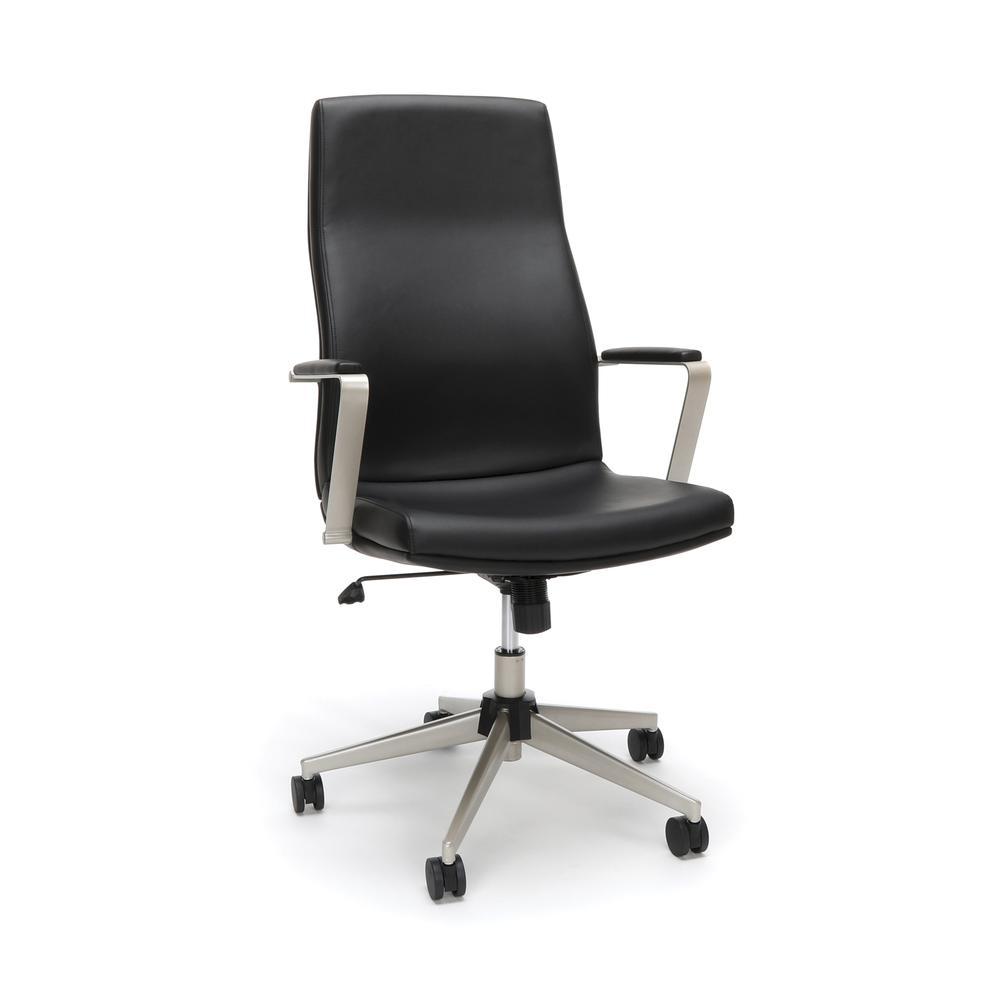 OFM Model 567 High-Back Bonded Leather Manager's Chair, Black. Picture 1