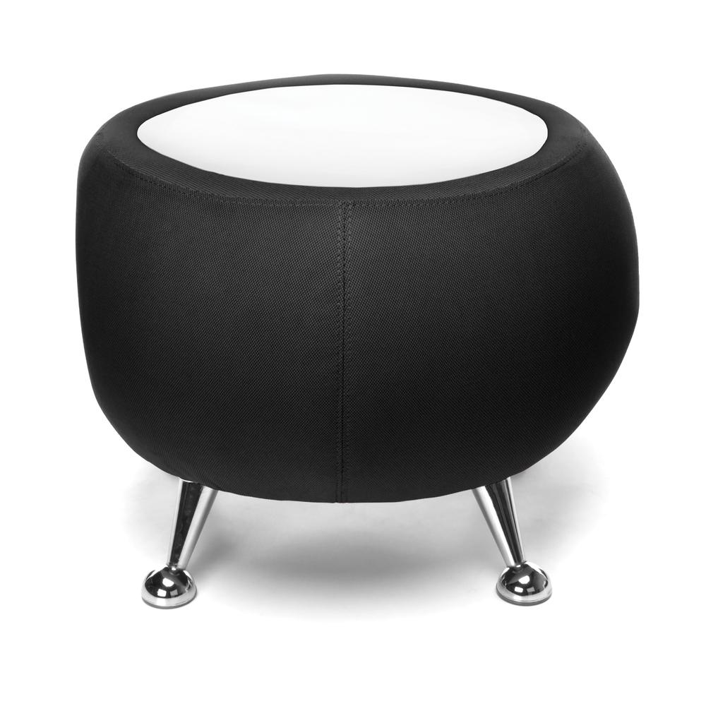 OFM Fabric Ball Stool, in Black, with White Table Top (2001T-2327-WHT). Picture 2