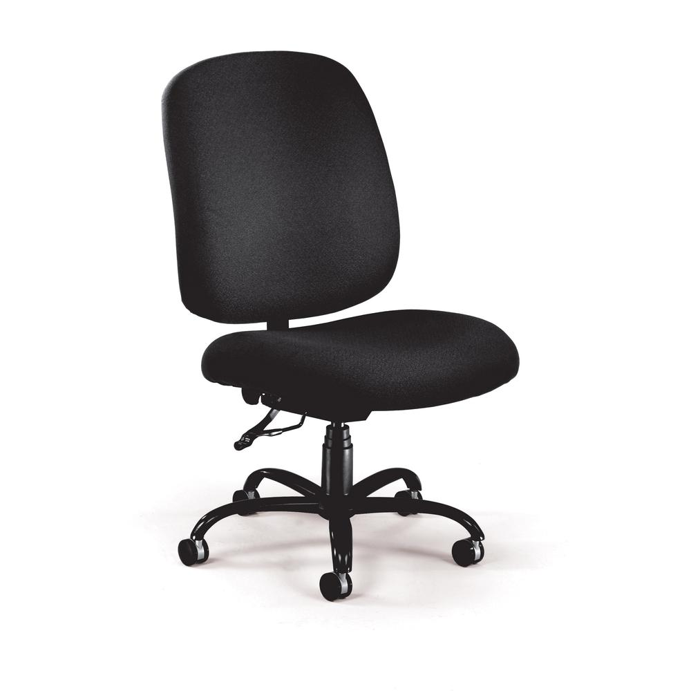 OFM Model 700 Big and Tall Fabric Mid-Back Armless Swivel Task Chair, Black